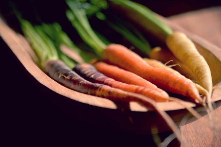 Purple, orange, yellow and white heritage carrots.